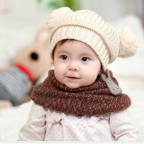 Warm Born Infants Baby Girls Boys Winter Knit Hat Toddler Hairball Beanie Cap
