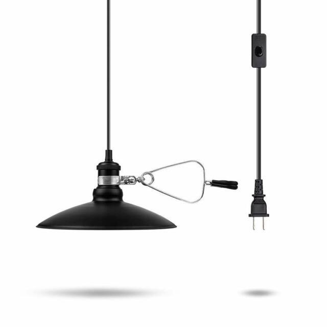 sale retailer 2149c 05326 Portable Hanging Plug-In Ceiling Lamp 1-Light Fixture Shade Black Adjustble  6 Ft