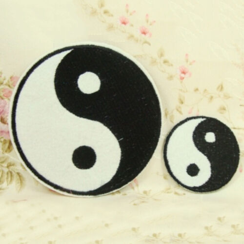 1X Ying Yang Applique Iron On Patch Fabric Sticker Patches 3 Sizes Reusable VQ