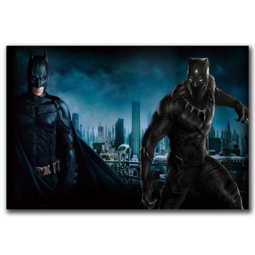 Black Panther VS Batman DC Movie Art Hot 12x18 24x36in FABRIC Poster N3456
