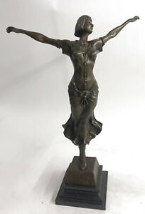 Free-as-Bird-by-D-H-Chiparus-Elegant-Woman-Genuine-Solid-Bronze-Sculpture-Figure