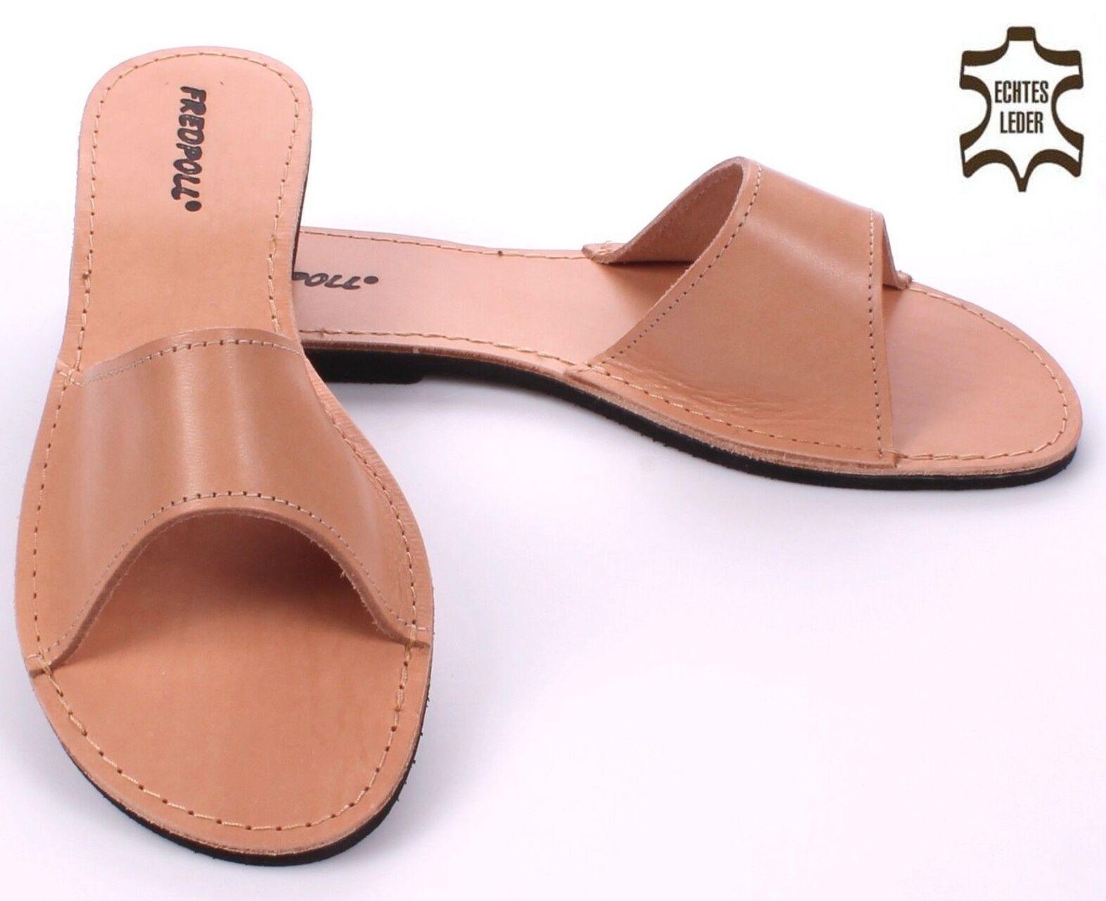 Damen Natur Leder Pantoletten Mod. 04 HausSchuhe Pantoffeln NEU Größe 39 bis 41