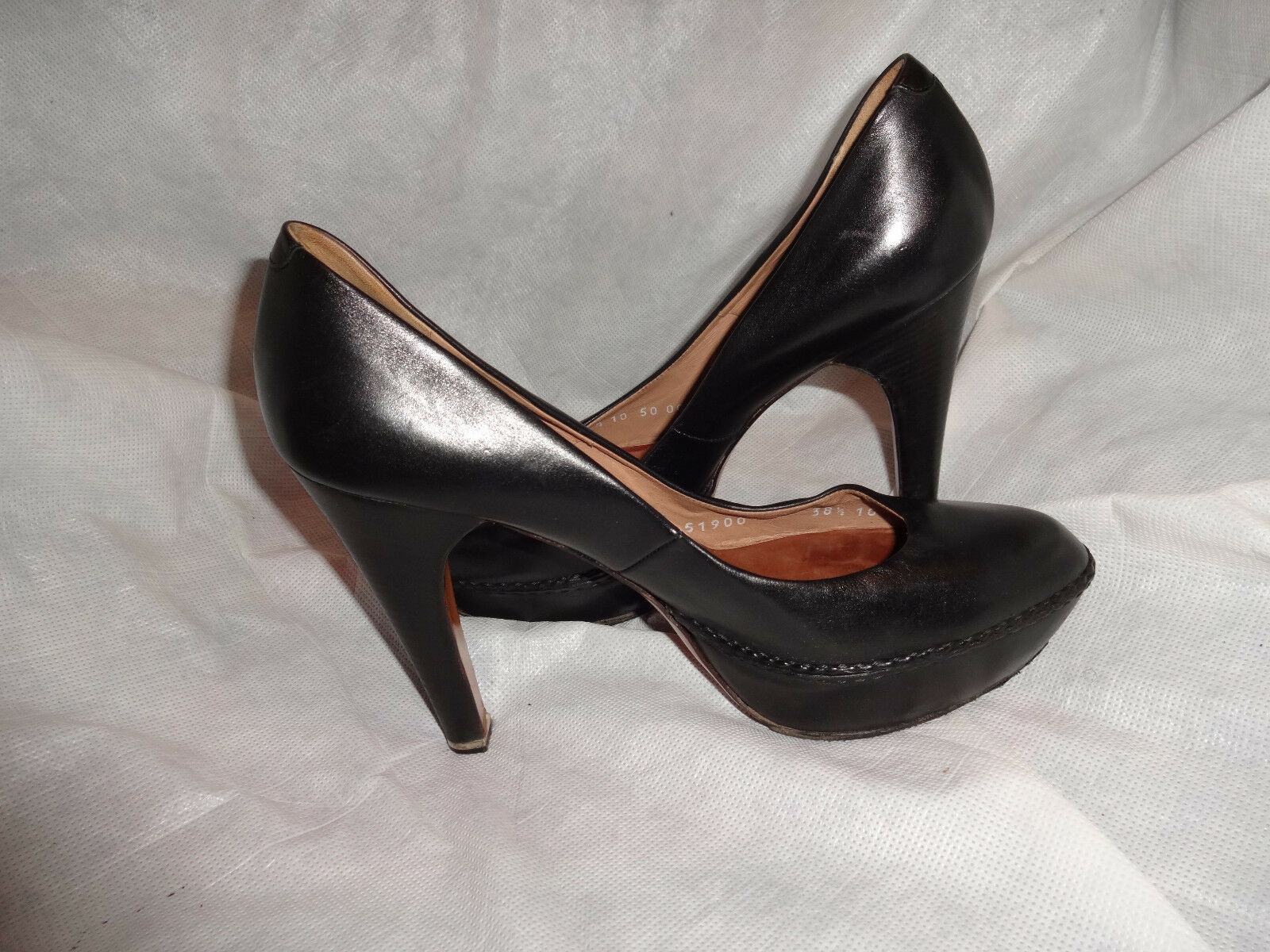 MORESCHI WOMEN BLACK LEATHER SIZE SLIP ON HEEL Schuhe SIZE LEATHER UK 5.5 EU 38.5 VGC 65438e