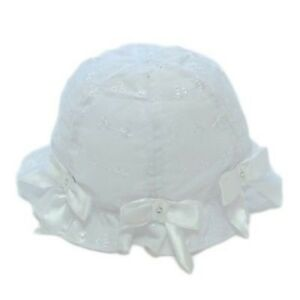 New Baby Girl Summer Sun Hat Broderie Anglaise Bows Diamantes White ... 25c612331b4
