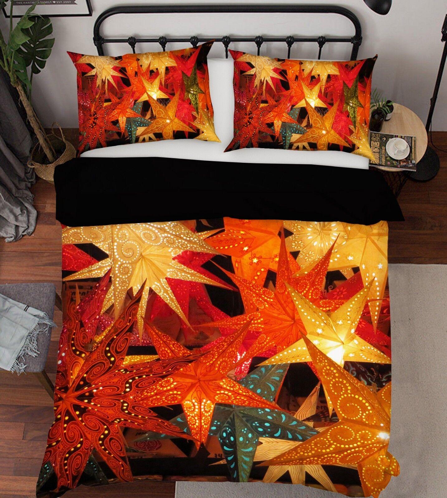 3D Christmas Xmas Maple 7 Bed Pillowcases Quilt Duvet Cover Set Single Queen UK