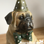 Large Party Pug in hat /& bow tie sculpture ornament figurine novelty decoration
