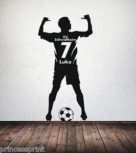 Das Bild Wird Geladen Wandtattoo Fussballer Wunschname Trikot Nummer Verein  Fussball Name