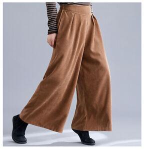 Women Corduroy Loose Trousers Wide Leg Pants Vintage Casual Elastic Long