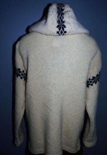 S 100 à Cardigan Pull Nordic capuche cassé l blanc à en laine capuche Obermeyer UqHwU