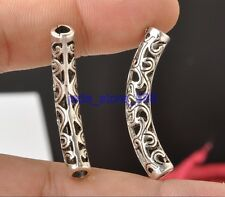 10pcs Silver plated metal circular curved (spend)  beads gasket  parts E3364