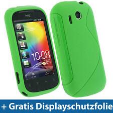 Grün Gel TPU Tasche für HTC Explorer A310e Android Schutz Hülle Etui Case Skin