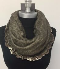 Women Winter Warm knitted crochet 1-Circle Cowl Infinity Scarf Wrap Brown/Beige