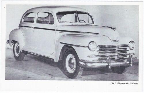 1947 PLYMOUTH 2-DOOR SEDAN Original Vintage DEALER SUPPLY-Style Postcard UNUSED