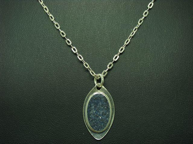 835 silver Kette & 925 Sterling silver Anhänger mit blueem Quarz Besatz   70,0cm