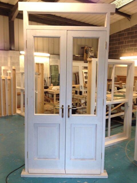 Solid Hardwood French Doors with fixed top light! Bespoke!!! Made to measure!!!