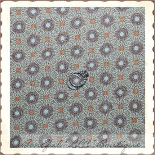 BonEful Fabric FQ Cotton Quilt VTG Brown Cream Tan Peach Dot Block Swirl Calico
