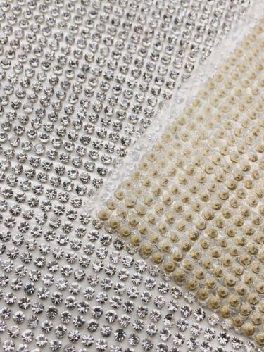 Iron on Hot Fix Diamante Rhinestone Mesh Transfer Sheet for Craft Work 1 Meter
