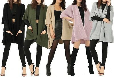 2019 Neuer Stil Womens Ladies Box 3/4 Sleeve Open Front Knitted Cardigan Wrap Cape Shawl Uk 8-14 Die Neueste Mode