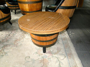 MIDCENTURY  BARREL  SIDE  TABLES
