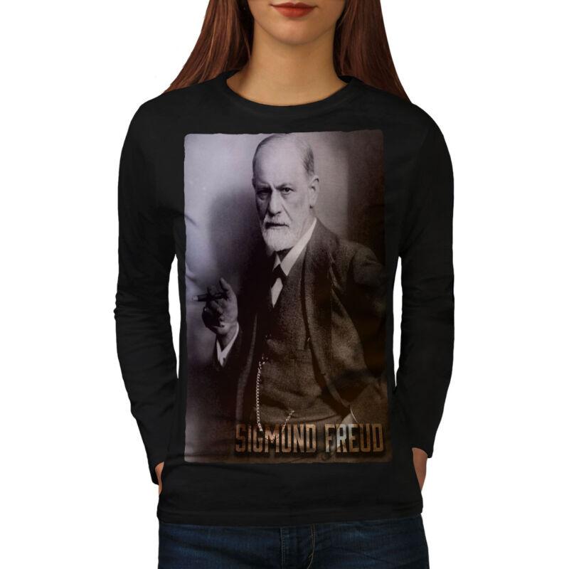 Wellcoda Sigmund Freud Mujer Manga Larga T-shirt, Psicoanálisis Diseño Casual