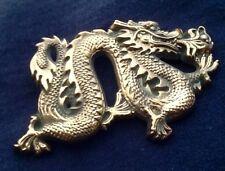 VINTAGE 1981 SOLID BRASS **DRAGON** BELT BUCKLE--Baron, Serpent, Biker, Harley