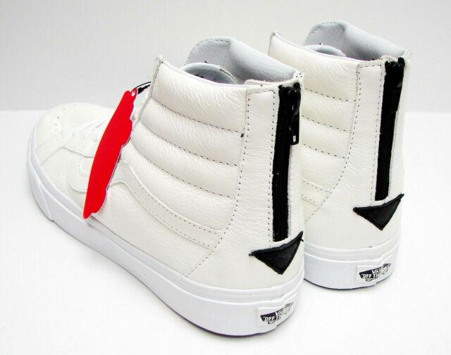 Vans Leather Sk8 Hi Slim Zip Womens Shoes True WhiteSnow Leopard In Sizes