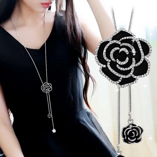 Fashion Black Rose Flower Long Sweater Necklace Metal Chain Crystal Jewelry Gift