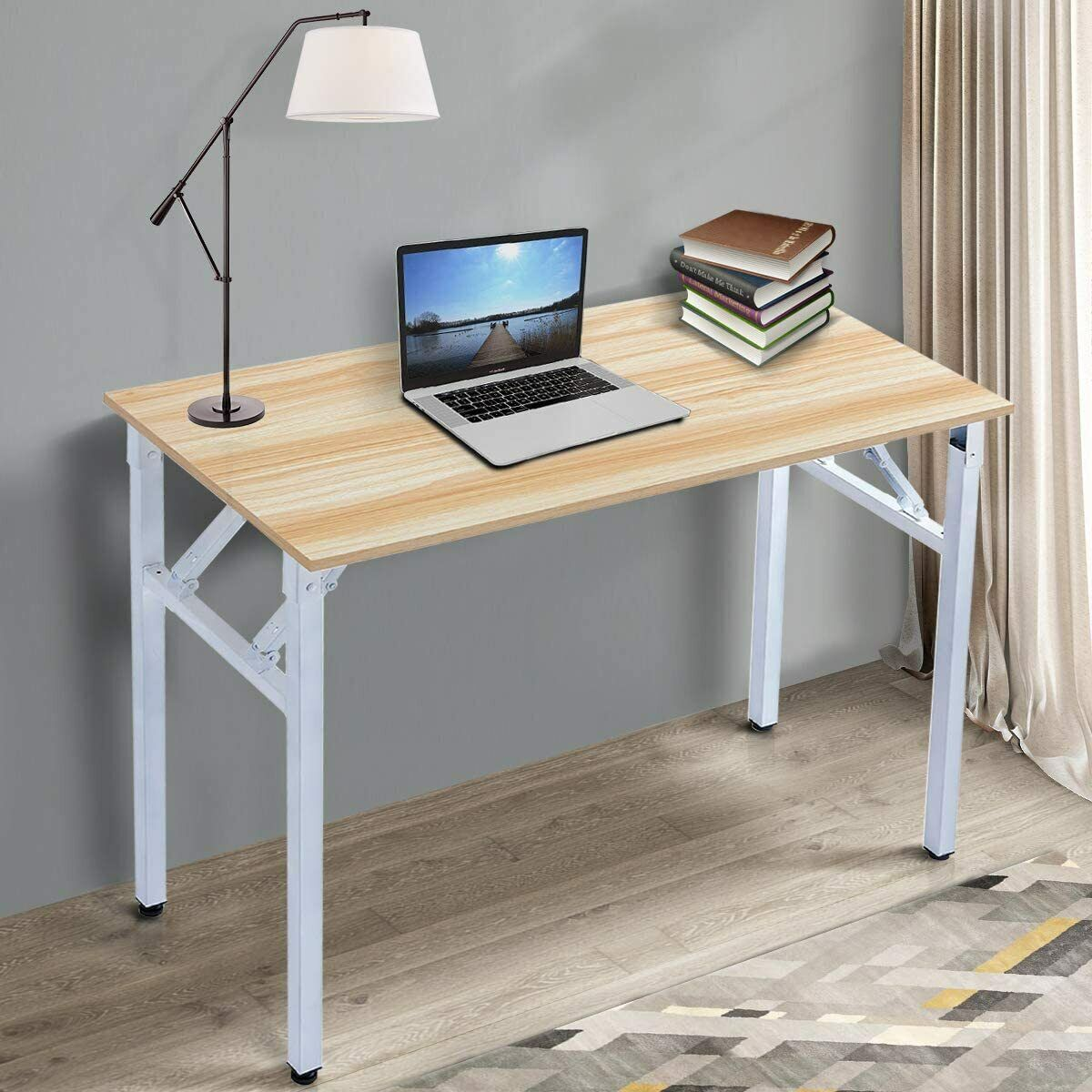 Office Folding Table Computer Workstation No Install Needed Teak Portable For Sale Online Ebay