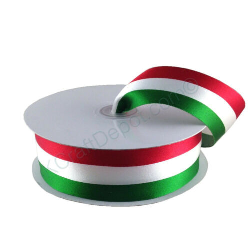 American or Mexican Flag Stripes Satin Ribbon 100/% Polyester 50 or 25 yard Roll