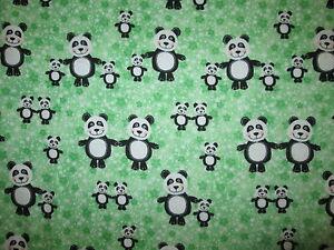 Panda Pandas Baby Family Green Stars Flannel Fabric Bthy