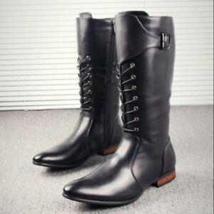 Retro Reiterstiefel Damen Nieten Western Cowboy Schnalle flach zip boots 42 43