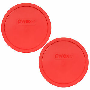 Pyrex 325-PC Red Round Storage Lid Covers 2pk for 2.5Qt Glass Mixing Bowl