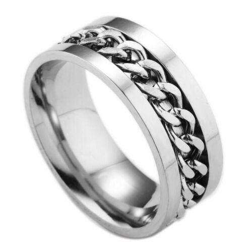 Mode en acier tournant anneau de la chaîne doigt tournant Spinner Ring Toy BB
