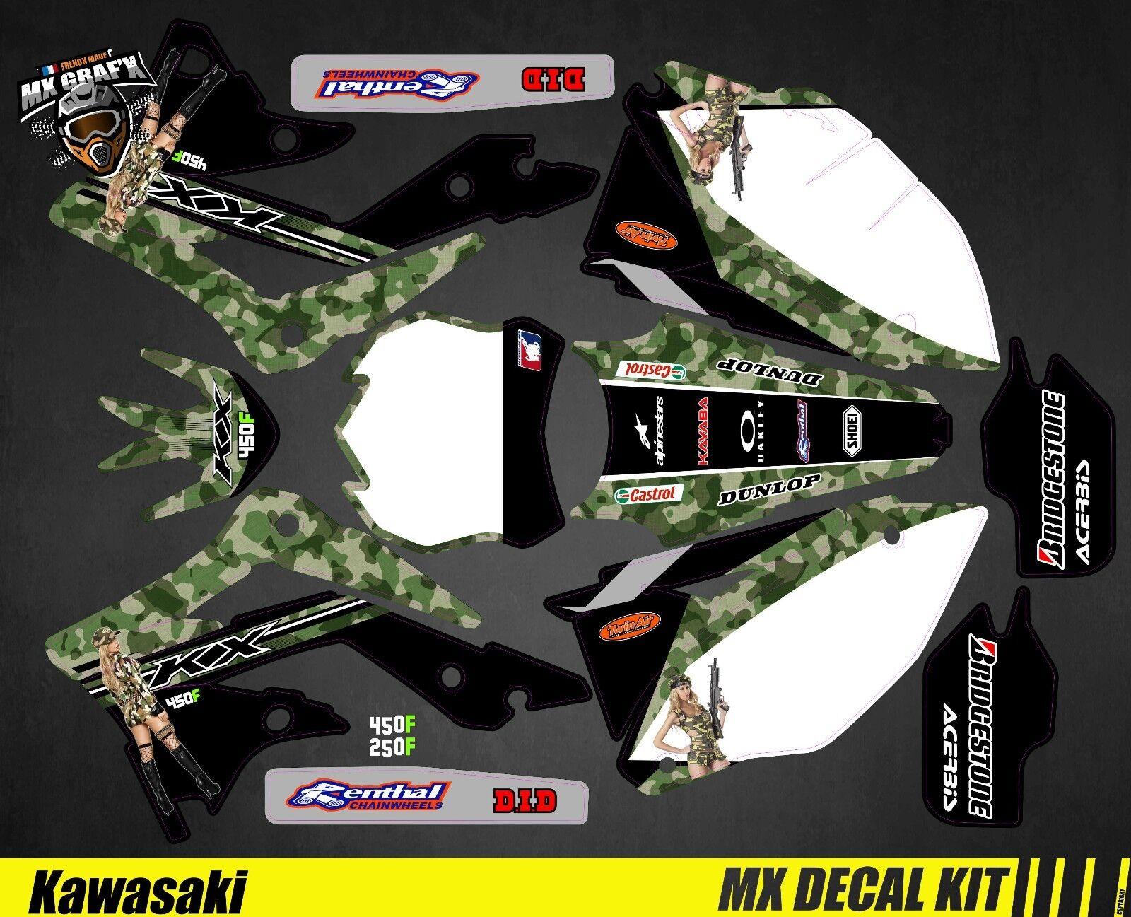 Kit Déco Moto pour   Mx Decal Kit for Kawasaki KXF - Sexy Camo