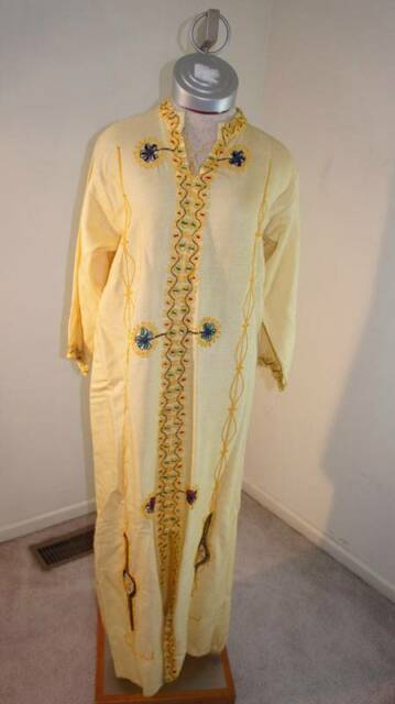 VINTAGE Heavily Embroidered Tunic Dress Light Yellow Linen Size M Medium?