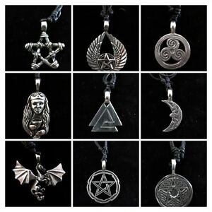 Lead-Free-Pewter-Pendants-on-Cord-Necklaces-Celtic-Pagan-Wicca-Norse-Pentacles