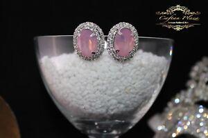 joyeria-nupcial-boda-Pendientes-de-boton-L-ROSA-TRANSPARENTE-Luxury-Ovalada