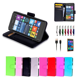 buy online 84b4a c1411 Colour Leather Wallet Case Cover for Nokia Lumia 730 735 | eBay