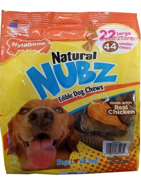 Nylabone Natural NUBZ Edible Dog Treats 2.6lb Real Chicken 22 Large Chews 8/2023