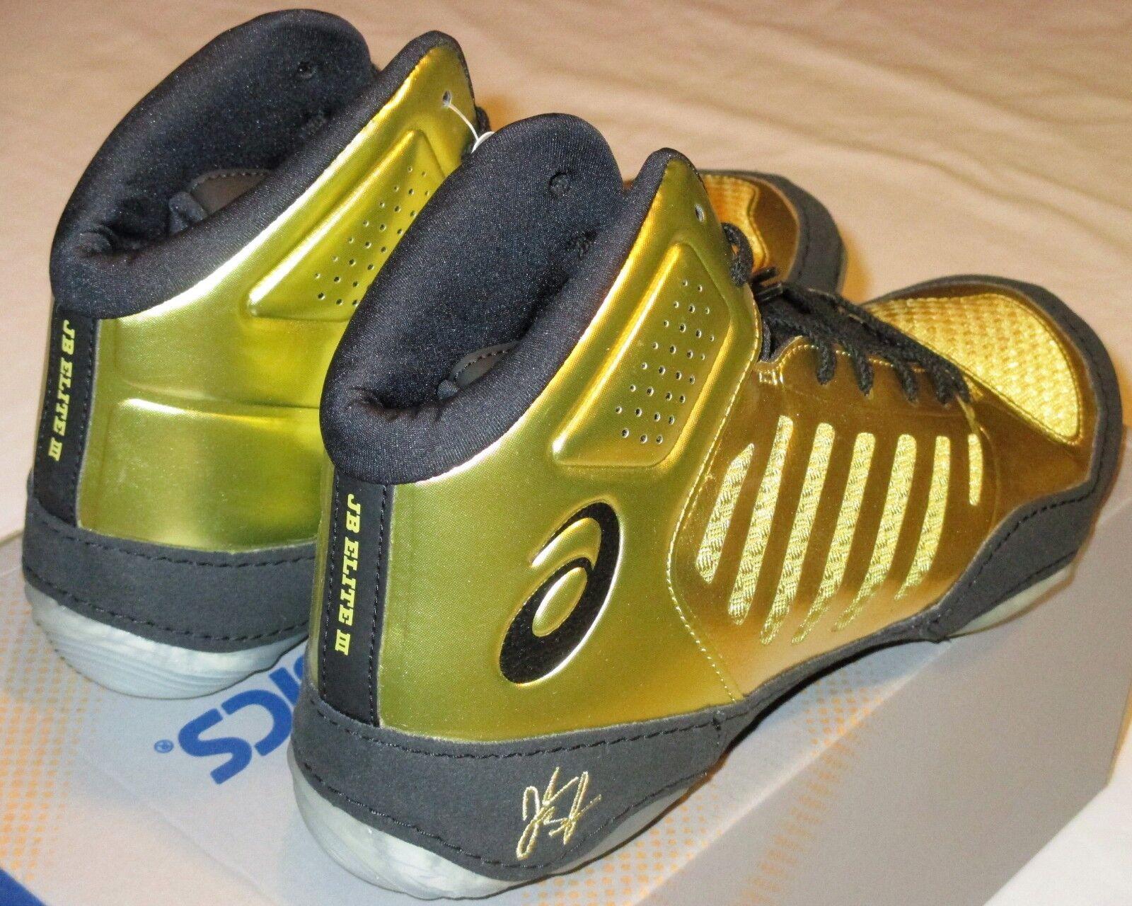 Men's 8 ASICS JB Elite III RICH gold   BLACK Wrestling shoes J702N-9490 Workout