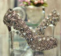 Diamond Shinning SWAROVSKI Crystal High Heel Wedding Shoes Stiletto Custom Size