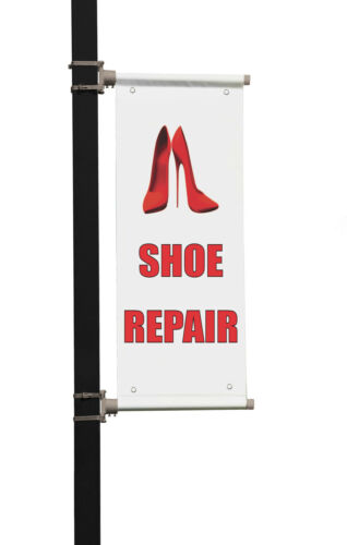 Shoe Repair Business Double Sided Vertical Pole Banner Sign