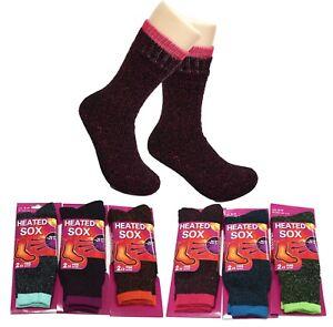 6 Ladies Heated Heat Thermal Socks Sox Size 4-8 Winter Warm Ski Boot Work Sock