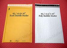 10 Large Kraft Amp Poly Bubble 5 105x 16 Shipping Envelope Padded Mailer Combo