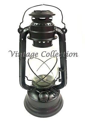 Retro Oil Lantern Garden Outdoor Kerosene Paraffin Hurricane Lamp Prop Black GB