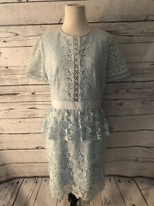 Details About Nwt Ted Baker Baby Blue Layered Lace Dress Sz 4 Us 10 Skater Dress Peplum Ss