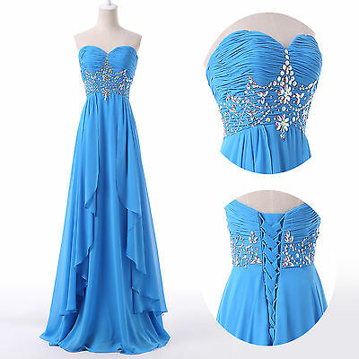 Beaded Corset Evening Gown Party Homecoming Bridesmaid Long Prom Plus Size Dress