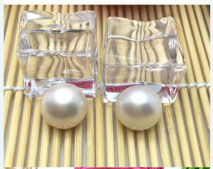 Pair of huge10mm natural south sea genuine white round loose pearl undrilled