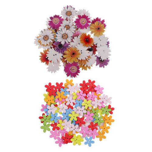 150Pcs Assorted Daisy Flor flatback Botones de Madera para Niños Manualidades 15 25 mm