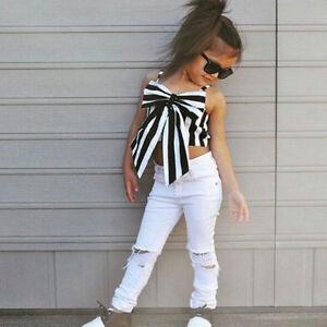 7645bb3ebc988 Toddler Kids Girl Striped Big Bow T-shirt Crop Top+Long Hole Jeans ...